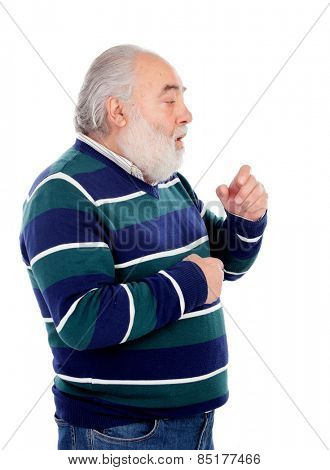 Senior man with white beard coughing isolated on background