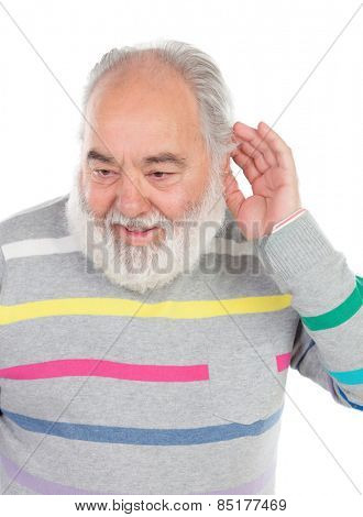 Deaf senior man with beard isolated on a white background