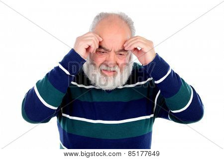 Elderly man with worried gesture isolated on white