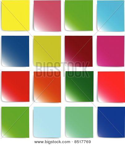 papel de colores para las notas