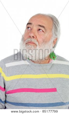 Senior man with white beard lookin up isolated on background