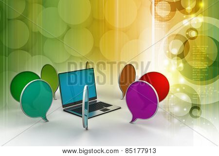 Laptop with chatting bubble