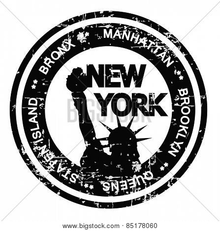 New York City ink stamp grunge style. Vector illustration on white background.