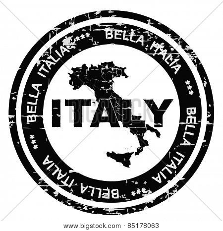 Italy grunge style ink stamp. Vector illustration on white background.