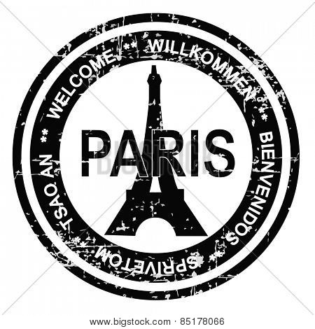 Paris ink stamp grunge style. Vector illustration on white background.
