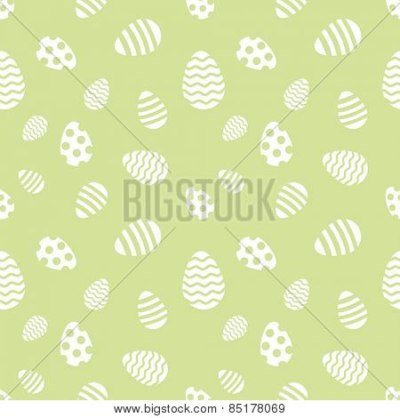 Seamless green and white Easter eggs vector pattern.