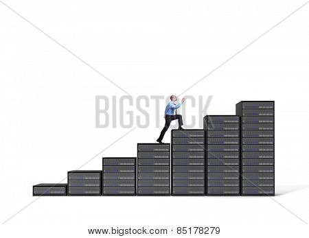 businessman and server stair 3d background