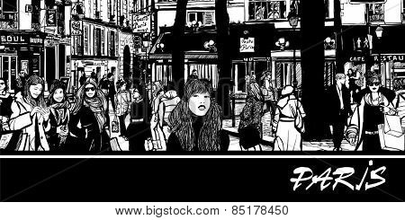 people in a street of Paris - vector illustration