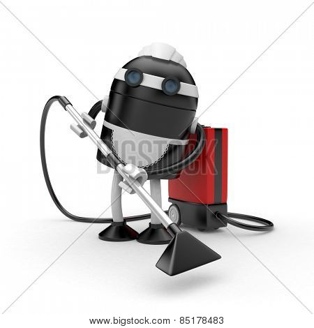 Housemaid with vacuum cleaner