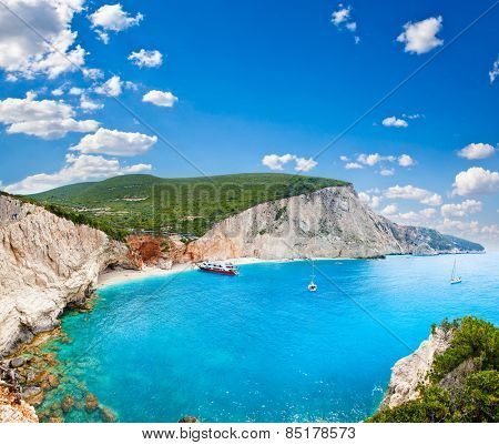 Beautiful panoramic view on  turquoise Katsiki beach, Lefkada, Greece.