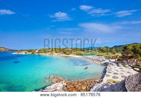 Beautiful Talgo beach on the east coast of Sithonia peninsula, Halkidiki, Greece.