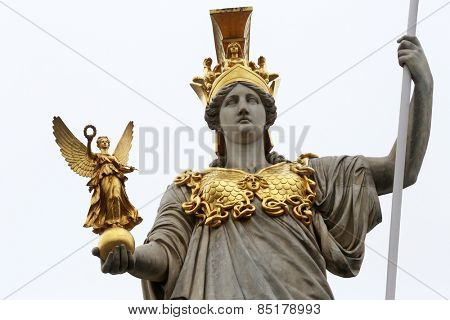 VIENNA, AUSTRIA - OCTOBER 11: Pallas Athene greek goddess of wisdom in front of Austrian parliament, Vienna, Austria on October 11, 2014.