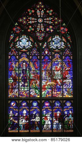 VIENNA, AUSTRIA - OCTOBER 11: St. Severin and St. Martin, Stained glass in Votiv Kirche (The Votive Church). It is a neo-Gothic church in Vienna, Austria on October 11, 2014
