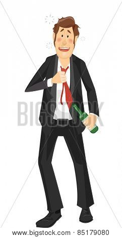 Illustration of a Heavily Drunk Man in a Suit Walking Unsteadily