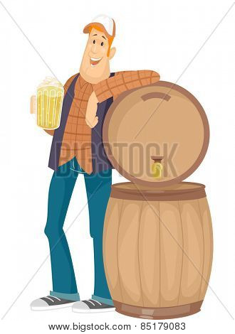 Illustration of a Man Holding a Pitcher of Beer Leaning Against a Beer Barrel