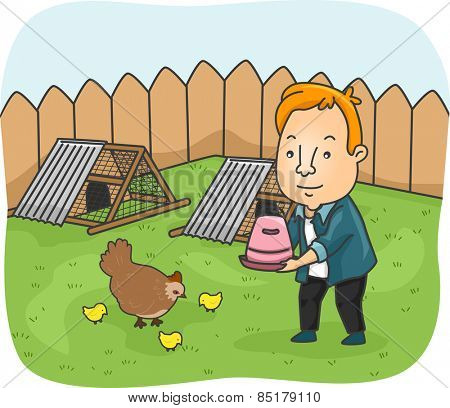 Illustration of a Man Feeding the Chickens in His Backyard