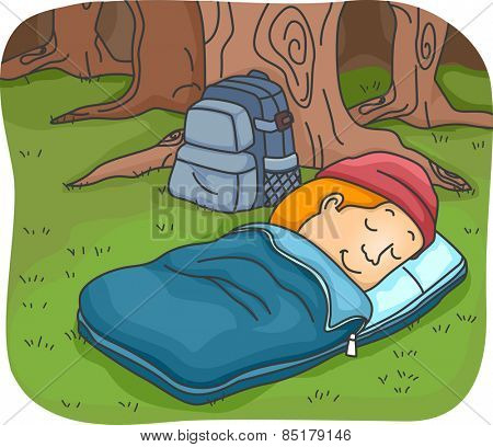 Illustration of a Man Sleeping in a Sleeping Bag While Camping in the Woods
