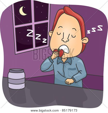 Illustration of a Sleepwalking Man Eating an Apple While Asleep