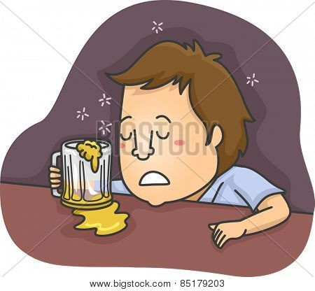 Illustration of a Drunk Man Sleeping in a Bar