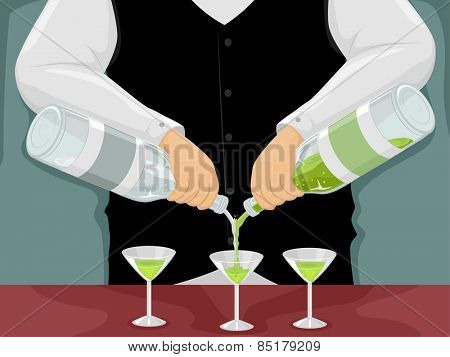 Illustration of a Male Bartender Mixing Drinks