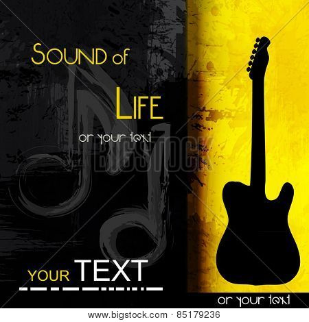 guitar grunge music background,  easy all editable
