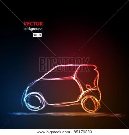 abstract neon car, easy all editable