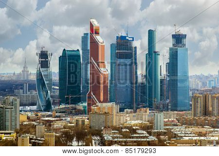 MOSCOW, RUSSIA - APR 1, 2014: Modern skyscrapers of Moscow City business complex. Moscow City include area of business activity, which will bring together business, apartment