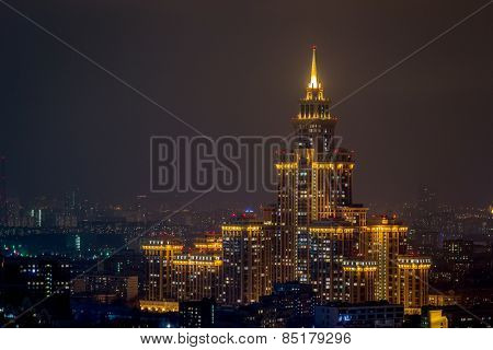 MOSCOW, RUSSIA - MAR 2, 2014: Residential complex Triumph Palace. Building height is 264 meters