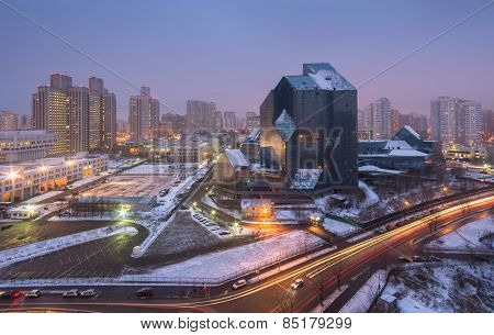 MOSCOW, RUSSIA - DEC 10, 2014: Unfinished business center Zenith. In 1994 construction works were stopped and has not yet been renewed