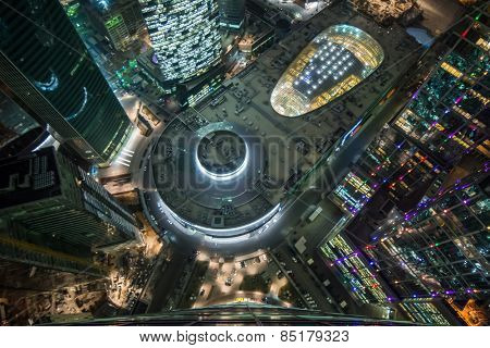 MOSCOW, RUSSIA - NOV 24, 2014: Top view of shopping and entertainment complex Central Core of business complex Moscow City at night. Investments in project Central Core - 300 million dollars