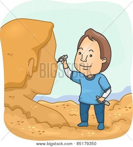 Illustration of a Man Sculpting a Human Figure Out of Sand