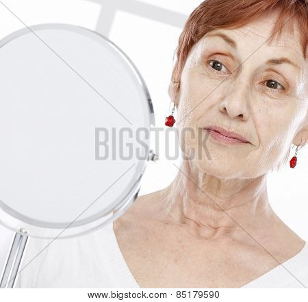 Sixty years old woman and tender