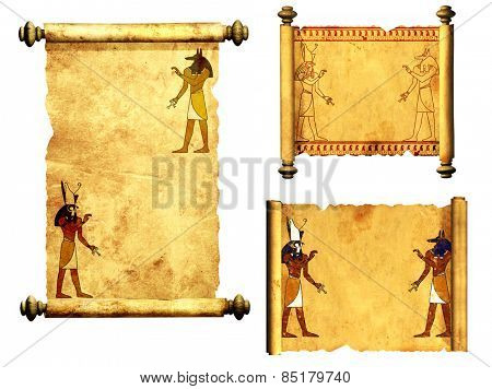 Collection of scrolls with Egyptian gods images - Anubis and Horus. Object isolated on white background