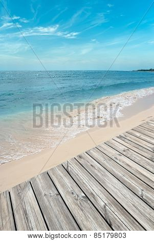 Beautiful white sanded beach and wooden boardwalk