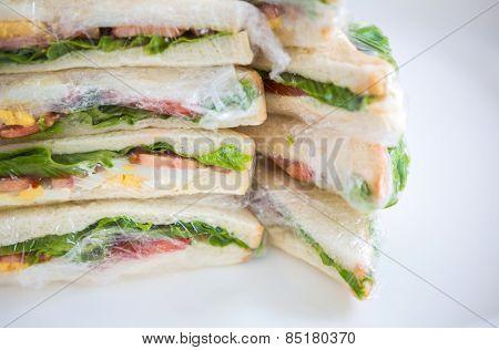 Sandwich in plastic wrap for picnic
