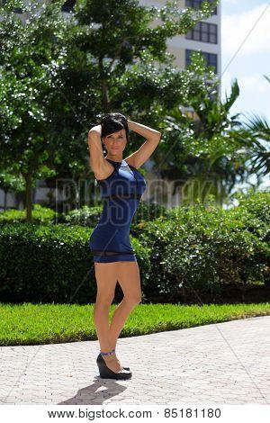 Beautiful Russian model in blue