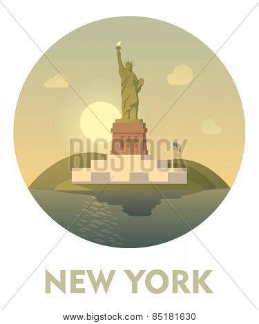 Vector icon representing New York as a travel destination