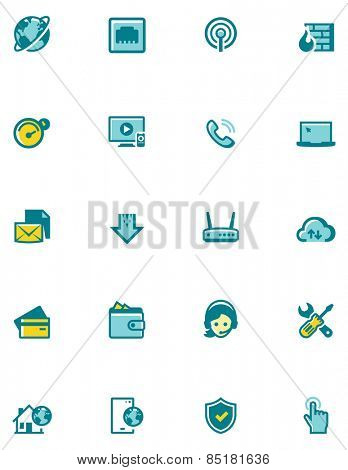 Set of the internet service provider related icons