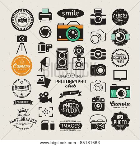 Photography vintage retro icons, badges and labels set. Vector photography logo templates