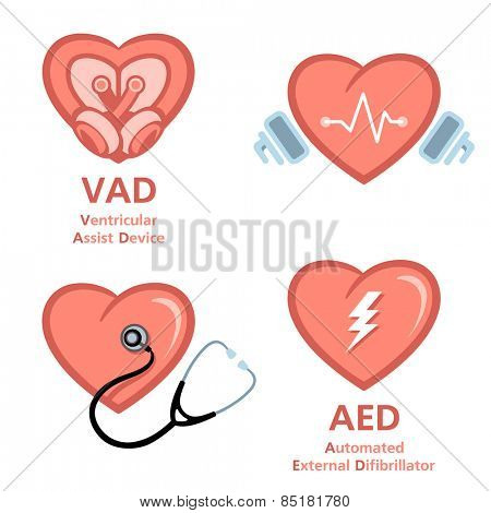 Artificial heart, defibrillator and heart care symbols