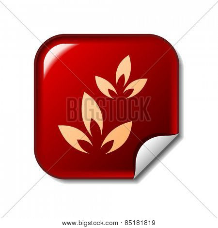 Floral icon on red sticker. Vector illustration