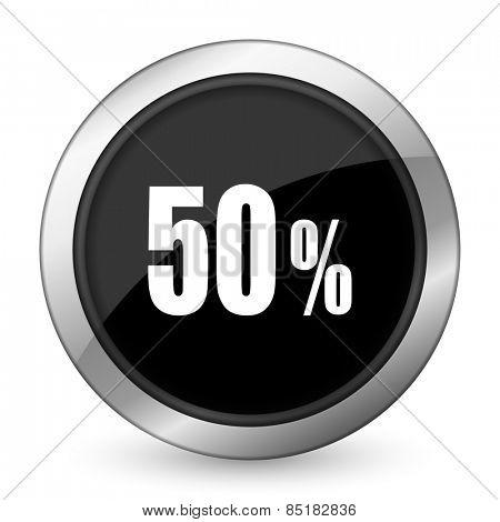 50 percent black icon sale sign