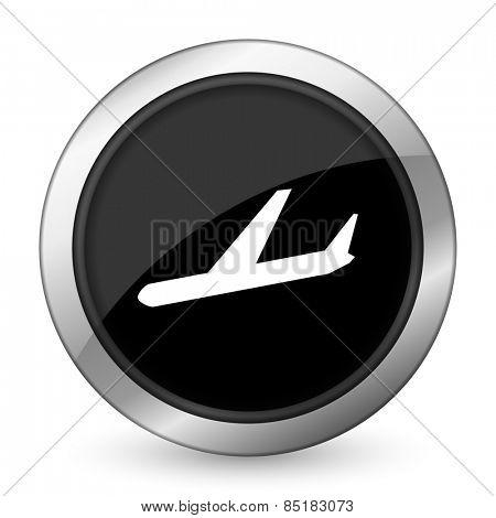 arrivals black icon plane sign