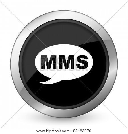 mms black icon message sign
