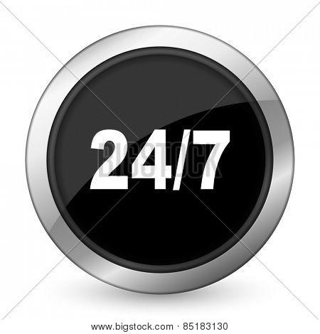 24/7 black icon