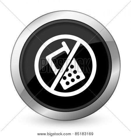 no phone black icon no calls sign