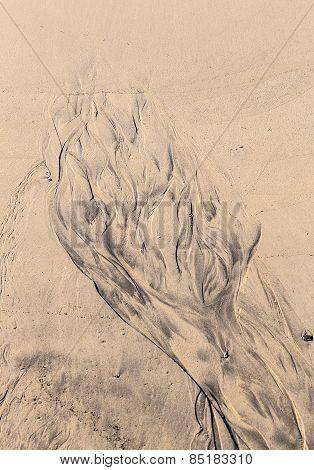 Islamic Pattern Type Texture On The Sand Beach
