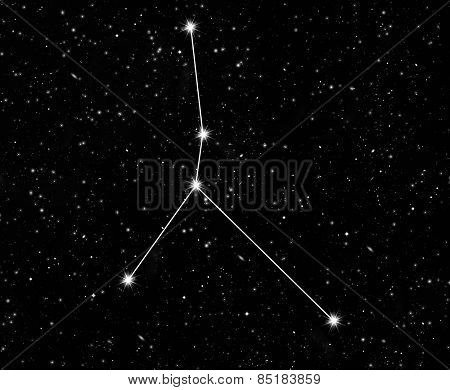 constellation of cancer against the starry sky