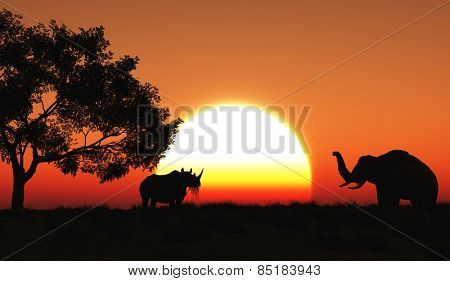 3D render of a rhino and elephant in an African landscape