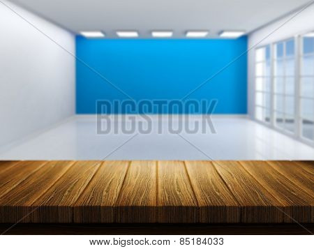 3D render of a wooden table with a defocussed empty room in the background